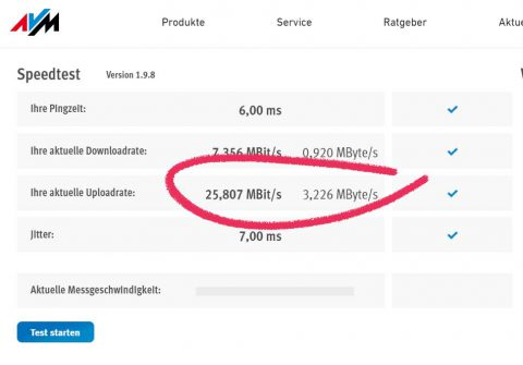 Uploadspeedtest für Livestreaming AVM Fritzbox