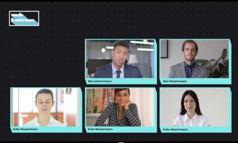 Überblick Speaker, Videokonferenz, hybrides Event